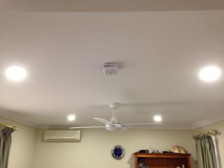 Ceiling fan, LED lights, smoke detector