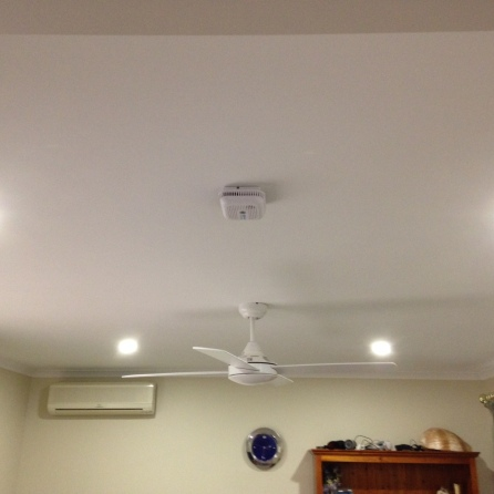 Ceiling fan, LED lights, smoke detector